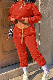 Orange Winter Long Sleeve Loose Velvet Hoodie Trousers Solid Color Sports Sets TK6201-2