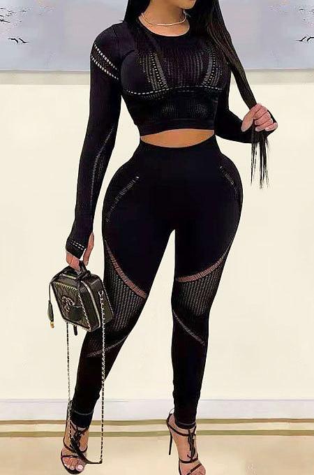 Black Fashion Positioning Printing Casual Tight Pants SetsAMN8030-1
