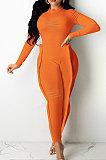 Orange Wholesale Women's Long Sleeve O Neck Hole Slim Fitting Lock Seam Bodycon Jumpsuits SDE29132-1