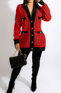 Red Fashion Plaid Printing Long Sleeve V Neck Single-Breasted Cardigan Coat SM9212-2