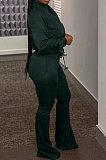 Dark Green Casual Solid Color Long Sleeve Zipper Loose Coat Mid Waist Flare Pants Sports Sets WA7115-3