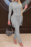Gray Women Pure Color Long Sleeve Irregular Bodycon Pants ANK06030-1