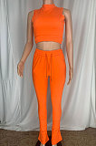 White Cottton Blend Sleeveless Crop Tips Ruffle Pants Solid Color Sets CL6107-2