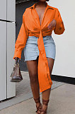 Apricot Club Ruffle Long Sleeve Deep V Neck Solid Color Casual Shirts SMD82085-1