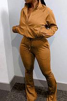 Coffee Casual Solid Color Long Sleeve Zipper Loose Coat Mid Waist Flare Pants Sports Sets WA7115-1