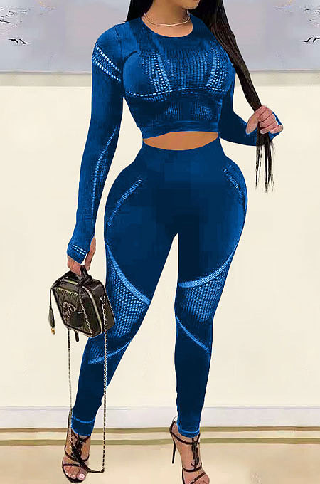 Blue Fashion Positioning Printing Casual Tight Pants Sets AMN8030-5
