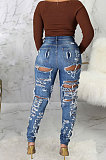 Blue Slim Fitting High Waist Hole Jean Pants SMR2508