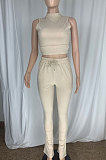 Black Cottton Blend Sleeveless Crop Tips Ruffle Pants Solid Color Sets CL6107-1