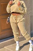 Khaki Winter Long Sleeve Loose Velvet Hoodie Trousers Solid Color Sports Sets TK6201-3