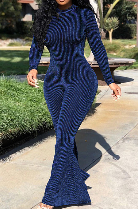 Peacock Blue Fashion Stripe Bright Side Long Sleeve O Neck Collect  Waist Plain Color Flare Jumpsuits CL6039-3