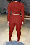 Wine Red Women Fashion Pure Color Ribber Ruffle Zipper Hooded Casual Pants Sets AMN8032-2