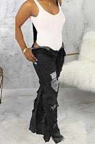 Black Personality Hole Autumn Jean Straight Leg Pants SMR2062-1