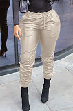 Brown New Pure Color Elasticband Leather Pants CL6100-4