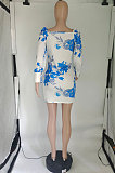 White Design Printing Bandage Puff Sleeve Slim Fitting Hip Dress SQ90085