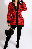 Yellow Fashion Plaid Printing Long Sleeve V Neck Single-Breasted Cardigan Coat SM9212-1