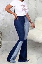 Dark Blue Casual Spliced Elastic Jean Flare Pants SMR2389-2
