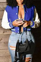 Blue Women Autumn Winter Fashion Snap Fastener Double Ribber Baseball Uniform Bodycon Jacket AA5273-8