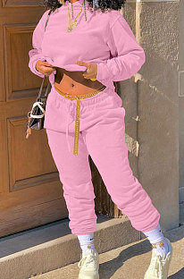 Pink Winter Long Sleeve Loose Velvet Hoodie Trousers Solid Color Sports Sets TK6201-5
