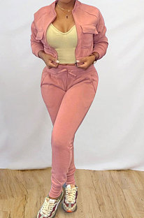 Pink Simple Women's Long Sleeve Zip Front Coat Trousers Solid Color Sports Sets MTY6609-2