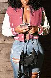 Black Women Autumn Winter Fashion Snap Fastener Double Ribber Baseball Uniform Bodycon Jacket AA5273-2