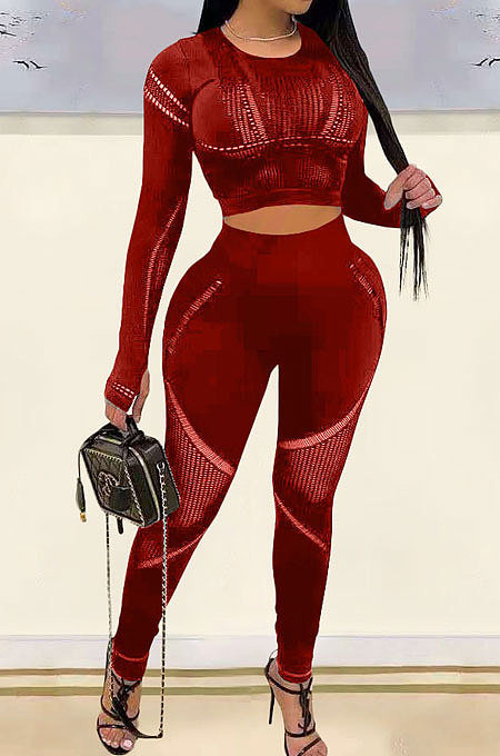 Wine Red Fashion Positioning Printing Casual Tight Pants Sets AMN8030-4