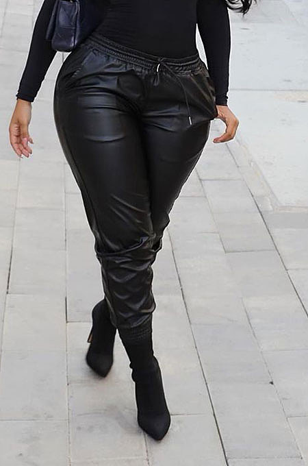 Black New Pure Color Elasticband Leather Pants CL6100-2