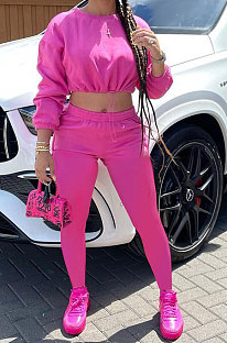 Rose Red Women Long Sleeve Round Collar Solid Color Fashion Dew Waist Drawsting Pants Sets BYQ1035-1