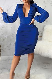 Blue Fashion New Long Sleeve Deep V Neck Collect Waist Bodycon Dress SMR10587-3