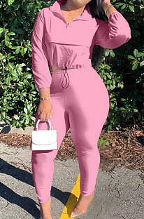Pink Casual New Long Sleeve Zipeer Loose Tops Skinny Pants Plain Color Sets MOM8029-7