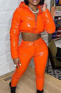 Orange Winter PU Long Sleeve Hooded Cotton Padded Crop Coat LA3295-4