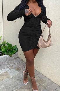 Black Sexy Ruffle Long Sleeve Single-Breasted Cardigan Hip Dress YNS1678-1