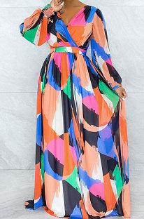 Multicolor Printing New Long Sleeve V Neck Slim Fittting Swing Long Dress YNS1670