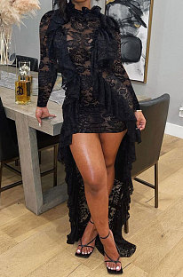 Balck Women Long Sleeve Lace Ruffle Collar Irregular Perspectivity Pure Color Ankle Dress ED1070-3