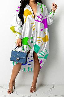White Women Trendy Lower Hem Drawsting Palm Printing Single-Breasted Turn-DownCollar T Shirt/Shirt Dress GHH072