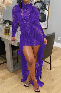 Purple Women Long Sleeve Lace Ruffle Collar Irregular Perspectivity Pure Color Ankle Dress ED1070-2