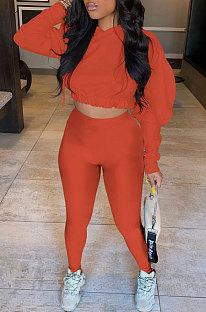 Orange Women Pure Color Long Sleeve Fashion Sexy Dew Waist Hooded Tops Sport Pants Sets ED8534-2