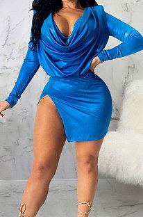Blue Night Club New Long Sleeve Back Zip Crop Tops Split Skirts Plain Color Sets SMR10433-2