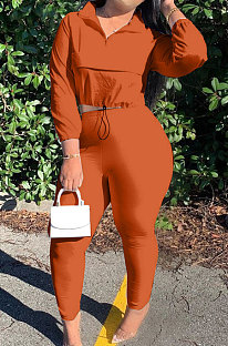 Orange Casual New Long Sleeve Zipeer Loose Tops Skinny Pants Plain Color Sets MOM8029-1