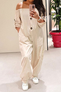 White Sexy Fat Women's A Wrod Shoulder Long Sleeve Button Front  Jumpsuits PQ8061-2