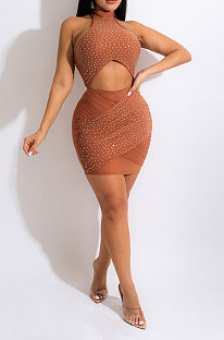 Orange Women Sexy Hollow Out Halter Neck Hot Drilling Hip Bodycon Mid Waist Mini Dress CCY9349-2