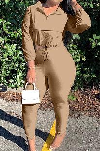 Brown Casual New Long Sleeve Zipeer Loose Tops Skinny Pants Plain Color Sets MOM8029-9