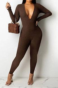 Dark Coffee Women Sexy Deep V Collar Pure Color Bodycon Jumpsuits BYQ1036-2