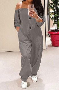 Grey Sexy Fat Women's A Wrod Shoulder Long Sleeve Button Front  Jumpsuits PQ8061-1