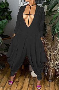 Black Wholesale Pure Color Long Sleeve Deep V Neck Collect Waist Jumpsuits YNS1673-1