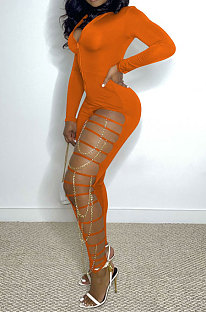 Orange Women Pure Color Sexy Chain Long Sleeve Zipper Hollow Out Bodycon Jumpsuits ED1065-3