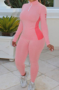 Pink High Quality Fabric Matching Color Long Sleeve Tops Skinny Pants Sets YM219-1