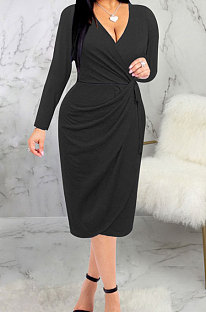 Black High Quality Long Sleeve V Neck Slim Fitting Plain Color Business Dress SMR10276-2