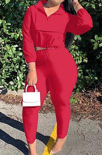 Red Casual New Long Sleeve Zipeer Loose Tops Skinny Pants Plain Color Sets MOM8029-3
