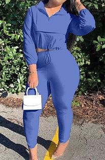 Blue Casual New Long Sleeve Zipeer Loose Tops Skinny Pants Plain Color Sets MOM8029-2