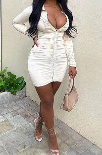Cream White Sexy Ruffle Long Sleeve Single-Breasted Cardigan Hip Dress YNS1678-3
